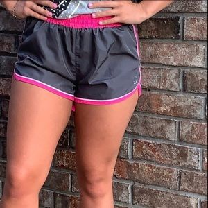 BE INSPIRED ATHLETIC SHORTS GRAY AND PINK SMALL